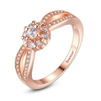 Bamoer High Luxury Jewelry 18K Gold Plated Rings Fit Women Gift With AAA Zircon CBR-32