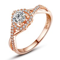 Rose Gold Plated Heart Shape Ring for Women with Paved Micro AAA CZ Jewelry GIFT CBR-31