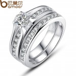 Women Wedding Gift Luxury Platinum plating Finger Ring With AAA Zircon Size 7 8 CBR-29 image