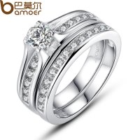 Women Wedding Gift Luxury Platinum plating Finger Ring With AAA Zircon CBR-29