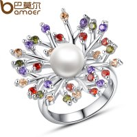 New Luxury Peacock Silver Finger Ring With Pearl and AAA Zircon Wedding CBR-28