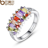 Platinum Plated Silver Rings With Multi-color AAA Zircon For Women Engagement CBR-27