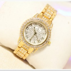 B.S Round Gold Plated Full Ladies Diamond Watch CBS-01