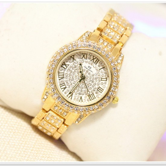 B.S Round Gold Plated Full Ladies Diamond Watch CBS-01 image