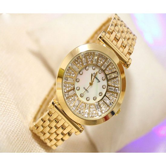 B.S Round Gold Plated Dial with Diamonds Ladies Watch CBS-09G image