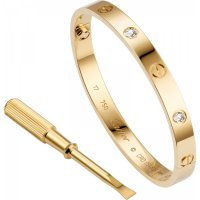 Women's Alloy Gold With Diamond Cartier Style Screw Bracelet FSB-52