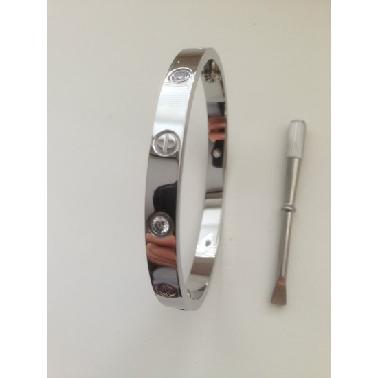 Women's Alloy Silver With Diamonds Cartier Style Screw Bracelet FSB-51 image