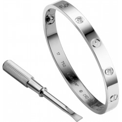 Women's Alloy Silver With Diamonds Cartier Style Screw Bracelet FSB-51