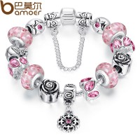 Fine European Charms Bracelets Crystal DIY With Pink Flowers Murano Beads 1853 CBD-180