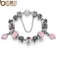 Pink Luxury European Charms Bracelet With Beads For Women CBD-22