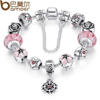 Pink Crystal Silver Charms Bracelets DIY European Women With Murano Beads 1851 CBD-136