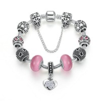 Women Flower Charms Bracelets With DIY Silver Pink Beads  CBD-57