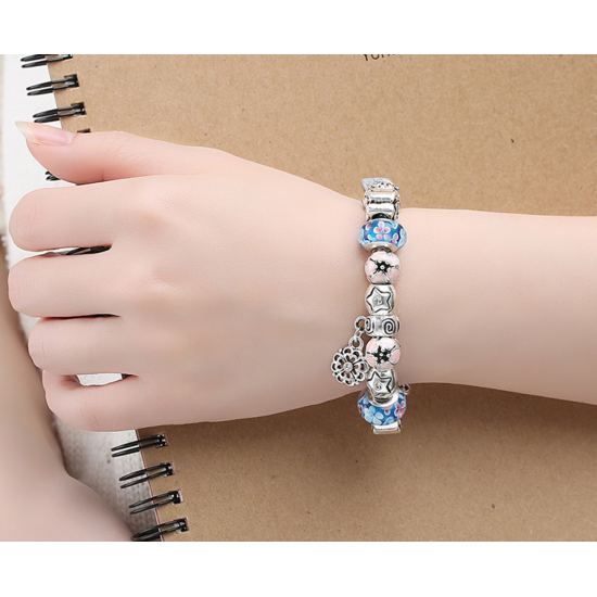 LOVE Crystal Charm Bracelet For Women With Blue Beads CBD-25 image