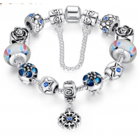 LOVE Crystal Charm Bracelet For Women With Blue Beads  CBD-25