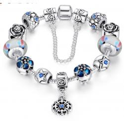 LOVE Crystal Charm Bracelet For Women With Blue Beads  CBD-25