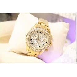 B.S Round Gold Plated Full Diamond Ladies  Watch CBS-40G