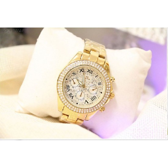 B.S Round Gold Plated Full Diamond Ladies Watch CBS-40G image