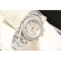 B.S Round Silver Full Diamond Ladies  Watch CBS-40S