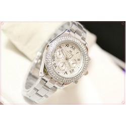 B.S Round Silver Full Diamond Ladies  Watch CBS-40S