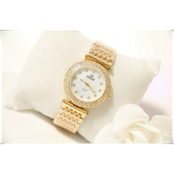 B.S Round Gold Plated Full Diamond Dial Ladies Watch CBS-49G