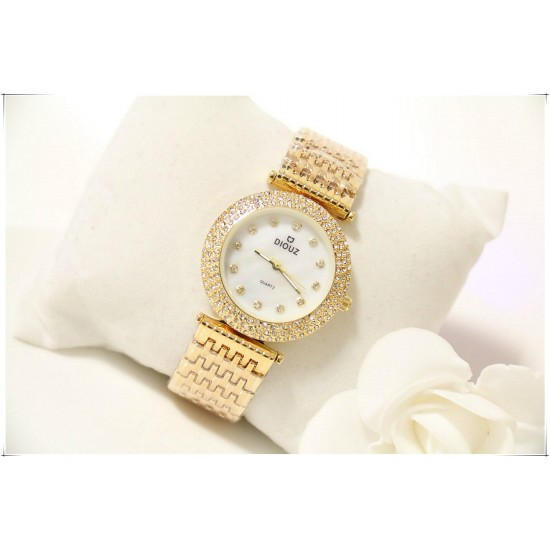 B.S Round Gold Plated Full Diamond Dial Ladies Watch CBS-49G image