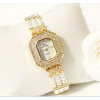 B.S Octagon Gold Plated Pearl Strap Ladies Diamond Watch CBS-60G