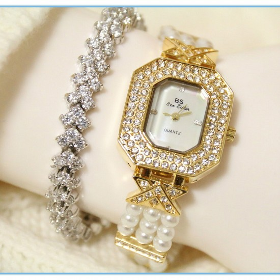 B.S Octagon Gold Plated Pearl Strap Ladies Diamond Watch CBS-60G image