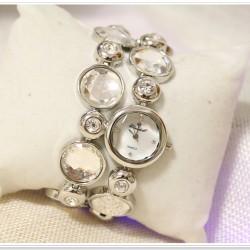 B.S Round Silver Full Case With Diamond Bracelet Watch CBS-59S