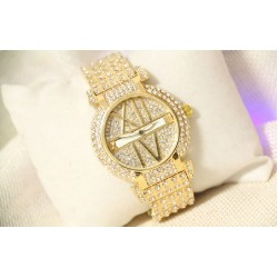B.S Round Gold Plated Full Case With Diamond Ladies Watch CBS-65G