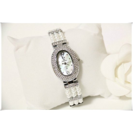 B.S Oval Silver Platted Full Case Diamonds Watch For Ladies CBS-109