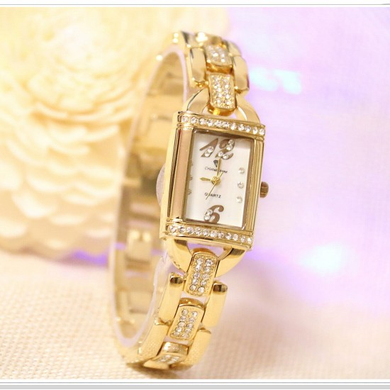 B.S Rectangle Gold Plated Full Case With Diamond Ladies Watch CBS-69G