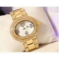 B.S Oval Gold Plated Full Case With Diamond Ladies Watch CBS-68G