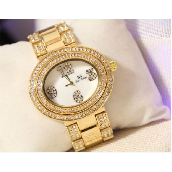 B.S Oval Gold Plated Full Case With Diamond Ladies Watch CBS-68G image