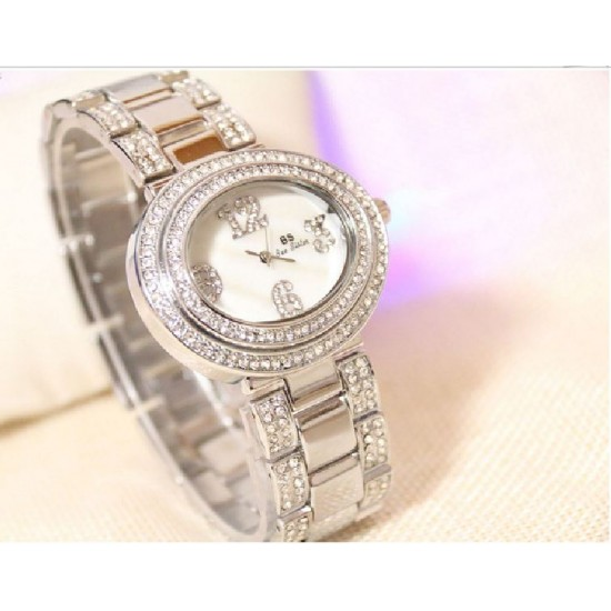 B.S Oval Silver Plated Full Case With Diamond Ladies Watch CBS-68S image