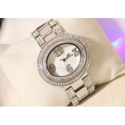 B.S Oval Silver Plated Full Case With Diamond Ladies Watch CBS-68S