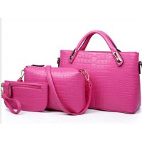 Women's Pink Crocodile Pattern 3 Piece Hand & Shoulder Bags Set CLB-02