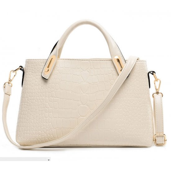 Women's Cream White Crocodile Pattern Three Piece Hand & Shoulder Bags Set CLB-04