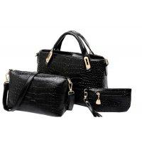 Women's Black Crocodile Pattern Three Piece Hand & Shoulder Bags Set CLB-05