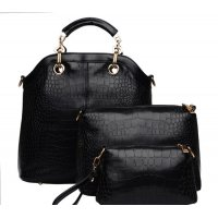Women's Black Three Piece Shoulder Hobo & Hand Bags Set  CLB-14