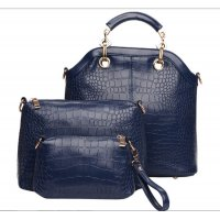 Women's Blue Three Piece Shoulder Hobo & Hand Bags Set  CLB-15