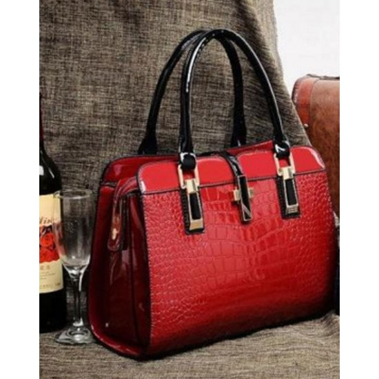 Women's Korean Fashion Maroon Crocodile Handbag Top Quality CLB-21