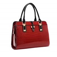 Women's Korean Fashion Maroon Crocodile Handbag Top Quality CLB-21