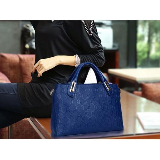 Women's Blue Color Four Piece Shoulder, Hands & Key Bags Set CLB-22BL image