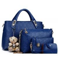 Women's Blue Color Four Piece Shoulder, Hands & Key Bags Set CLB-22BL