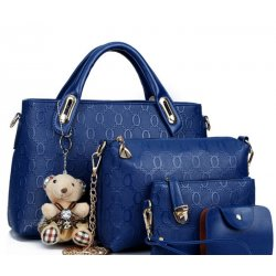 Women's Blue Color Four Piece Shoulder, Hands & Key Bags Set CLB-22BL