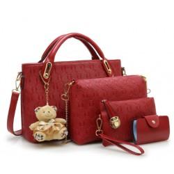 Women's Red Color Four Piece Shoulder, Hands & Key Bags Set CLB-22RD