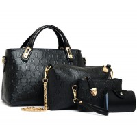 Women's Black Color Four Piece Shoulder, Hands & Key Bags Set CLB-22BK