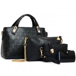 Women's Black Color Four Piece Shoulder, Hands & Key Bags Set CLB-22BK