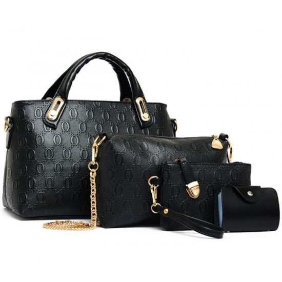 Women's Black Color Four Piece Shoulder, Hands & Key Bags Set CLB-22BK image