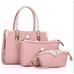 Women's Worsely Pink Color Three Piece Shoulder & Hand Bags Set CLB-30